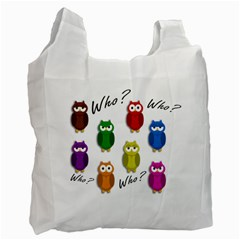 Cute Owls   Who? Recycle Bag (two Side)  by Valentinaart