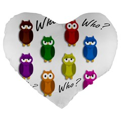 Cute Owls   Who? Large 19  Premium Flano Heart Shape Cushions by Valentinaart