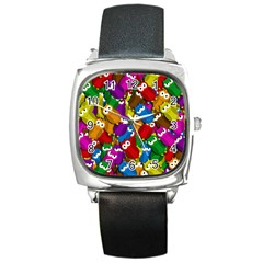 Cute Owls Mess Square Metal Watch by Valentinaart