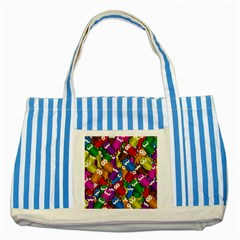 Cute Owls Mess Striped Blue Tote Bag by Valentinaart