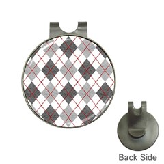 Fabric Texture Argyle Design Grey Hat Clips With Golf Markers by AnjaniArt