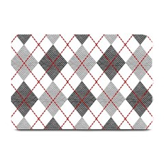 Fabric Texture Argyle Design Grey Plate Mats by AnjaniArt