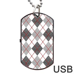Fabric Texture Argyle Design Grey Dog Tag Usb Flash (one Side) by AnjaniArt