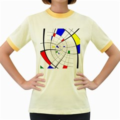 Swirl Grid With Colors Red Blue Green Yellow Spiral Women s Fitted Ringer T Shirts by designworld65