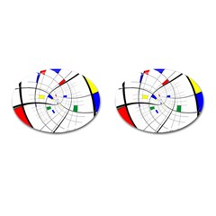 Swirl Grid With Colors Red Blue Green Yellow Spiral Cufflinks (oval) by designworld65