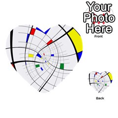 Swirl Grid With Colors Red Blue Green Yellow Spiral Multi Purpose Cards (heart)  by designworld65