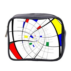 Swirl Grid With Colors Red Blue Green Yellow Spiral Mini Toiletries Bag 2 Side by designworld65