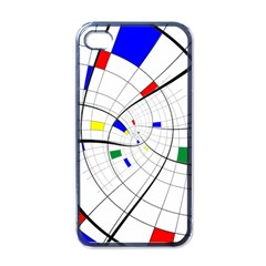 Swirl Grid With Colors Red Blue Green Yellow Spiral Apple Iphone 4 Case (black) by designworld65