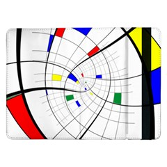 Swirl Grid With Colors Red Blue Green Yellow Spiral Samsung Galaxy Tab Pro 12 2  Flip Case by designworld65