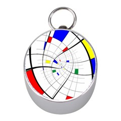 Swirl Grid With Colors Red Blue Green Yellow Spiral Mini Silver Compasses by designworld65