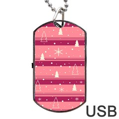 Pink Xmas Dog Tag USB Flash (One Side) by Valentinaart