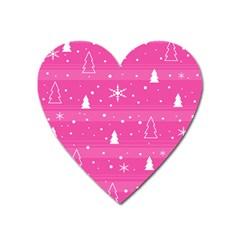 Magenta Xmas Heart Magnet by Valentinaart