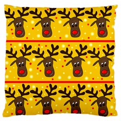 Christmas Reindeer Pattern Large Flano Cushion Case (two Sides) by Valentinaart