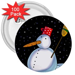 Lonely Snowman 3  Buttons (100 Pack)  by Valentinaart