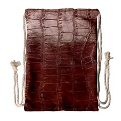 Leather Snake Skin Texture Drawstring Bag (Large) by AnjaniArt