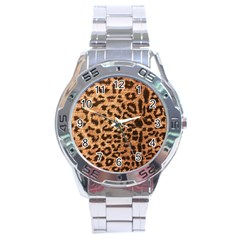 Leopard Print Animal Print Backdrop Stainless Steel Analogue Watch by AnjaniArt