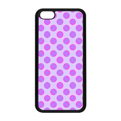 Pastel Pink Mod Circles Apple iPhone 5C Seamless Case (Black) by BrightVibesDesign