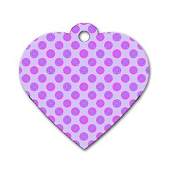 Pastel Pink Mod Circles Dog Tag Heart (one Side) by BrightVibesDesign