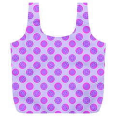 Pastel Pink Mod Circles Full Print Recycle Bags (l)  by BrightVibesDesign