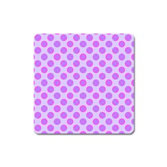 Pastel Pink Mod Circles Square Magnet by BrightVibesDesign