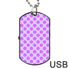 Pastel Pink Mod Circles Dog Tag Usb Flash (one Side) by BrightVibesDesign