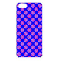 Bright Mod Pink Circles On Blue Apple Iphone 5 Seamless Case (white) by BrightVibesDesign
