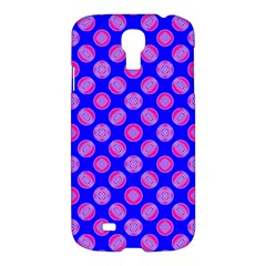 Bright Mod Pink Circles On Blue Samsung Galaxy S4 I9500/i9505 Hardshell Case by BrightVibesDesign