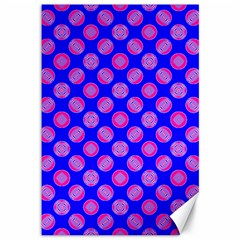 Bright Mod Pink Circles On Blue Canvas 12  X 18   by BrightVibesDesign