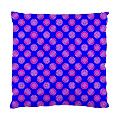 Bright Mod Pink Circles On Blue Standard Cushion Case (two Sides) by BrightVibesDesign