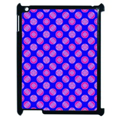 Bright Mod Pink Circles On Blue Apple Ipad 2 Case (black) by BrightVibesDesign