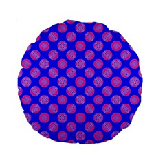 Bright Mod Pink Circles On Blue Standard 15  Premium Round Cushions by BrightVibesDesign