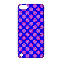 Bright Mod Pink Circles On Blue Apple Ipod Touch 5 Hardshell Case With Stand by BrightVibesDesign