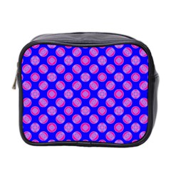Bright Mod Pink Circles On Blue Mini Toiletries Bag 2 Side by BrightVibesDesign