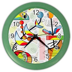 Happy day Color Wall Clocks by Valentinaart