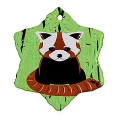 Red Panda Bamboo Firefox Animal Snowflake Ornament (2 Side) by AnjaniArt