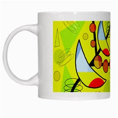 Happy Day   Yellow White Mugs by Valentinaart