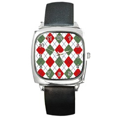 Red Green White Argyle Navy Square Metal Watch by AnjaniArt