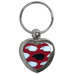 Sheep Pattern Key Chains (heart)  by AnjaniArt