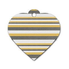 Textile Design Knit Tan White Dog Tag Heart (two Sides) by AnjaniArt