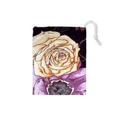 Texture Flower Pattern Fabric Design Drawstring Pouches (small)  by AnjaniArt