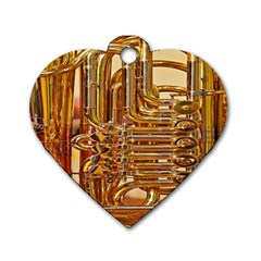 Tuba Valves Pipe Shiny Instrument Music Dog Tag Heart (two Sides) by AnjaniArt