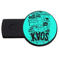 Typography Illustration Chaos Usb Flash Drive Round (4 Gb)  by AnjaniArt