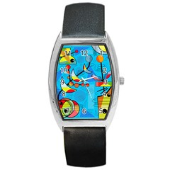 Happy Day   Blue Barrel Style Metal Watch by Valentinaart