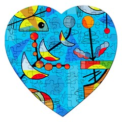 Happy day - blue Jigsaw Puzzle (Heart)