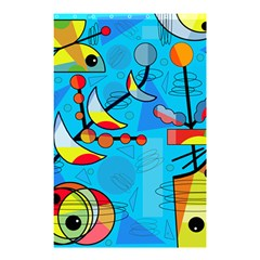 Happy Day   Blue Shower Curtain 48  X 72  (small)  by Valentinaart