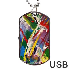 Abstract Art Artwork Colorful Dog Tag USB Flash (Two Sides)  by Zeze