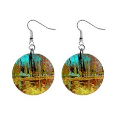 Autumn Landscape Impressionistic Design Mini Button Earrings by theunrulyartist