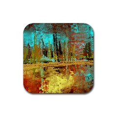 Autumn Landscape Impressionistic Design Rubber Coaster (square)  by theunrulyartist