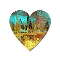 Autumn Landscape Impressionistic Design Heart Magnet by theunrulyartist
