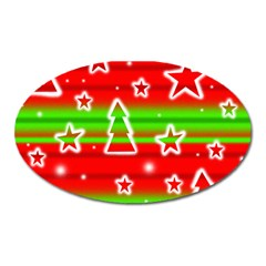Christmas Pattern Oval Magnet by Valentinaart